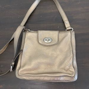 Fossil gold leather crossbody bag